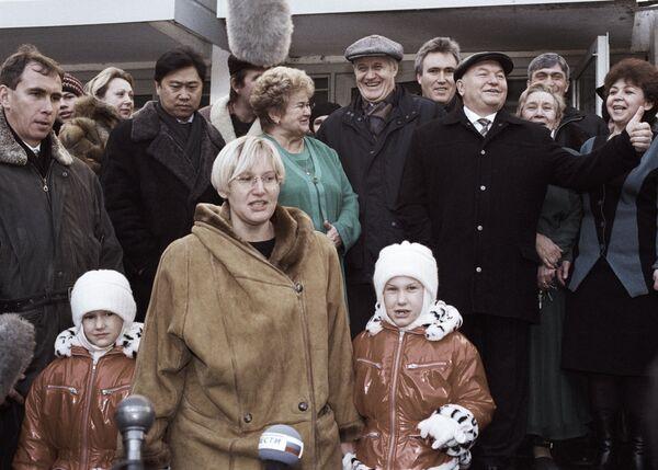 Мэр Москвы Юрий Лужков с супругой Еленой Батуриной и дочерьми