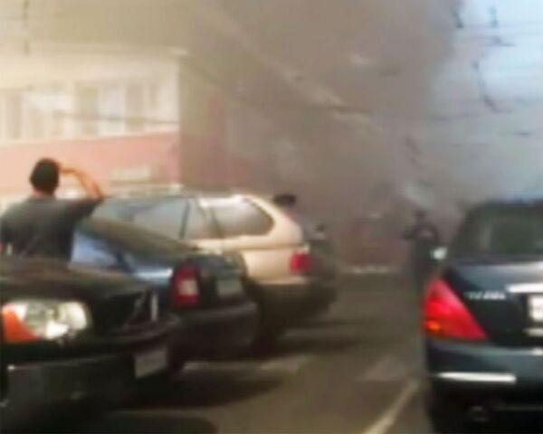 Пожар в центре Грабаря в Москве. Видео очевидца