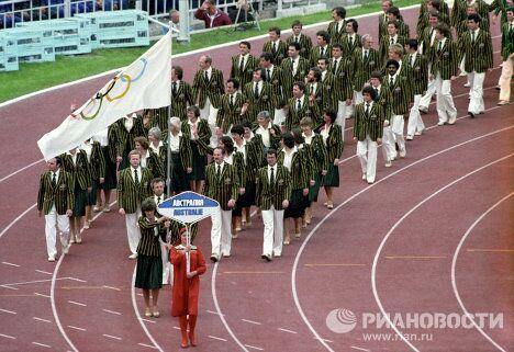 Команда Австралии на церемонии открытия Олимпиады