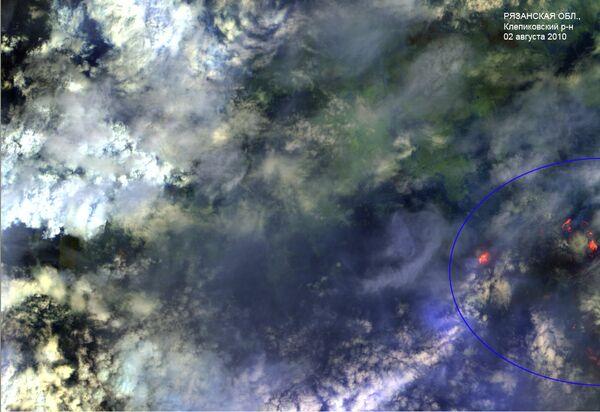 Лесные пожары в Рязанской области. Вид из космоса