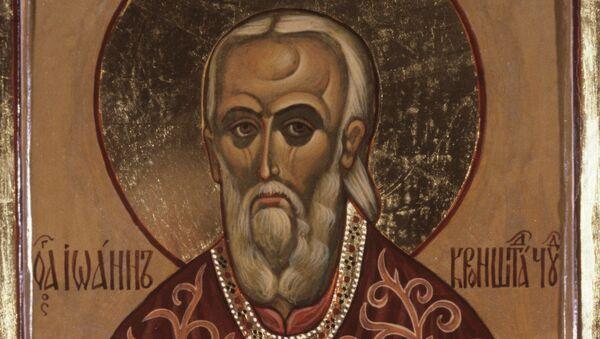 Икона протоиерея, иконописца Георгия Иващенко Иоанн Кронштадский. Архивное фото