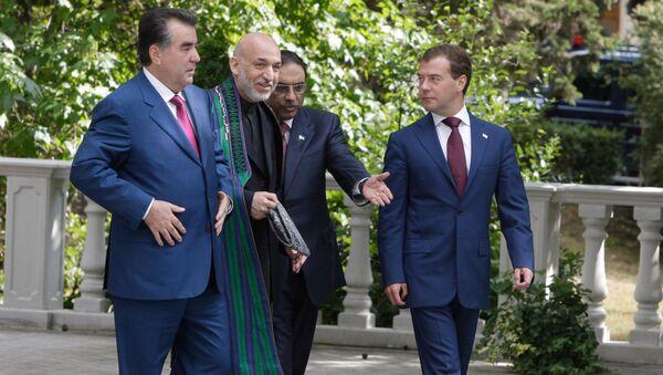 Встреча президента РФ Дмитрия Медведева с президентом Таджикистана с Э.Рахмоном, президентом Афганистана Х.Карзаем и президентом Пакистана А.Зардари