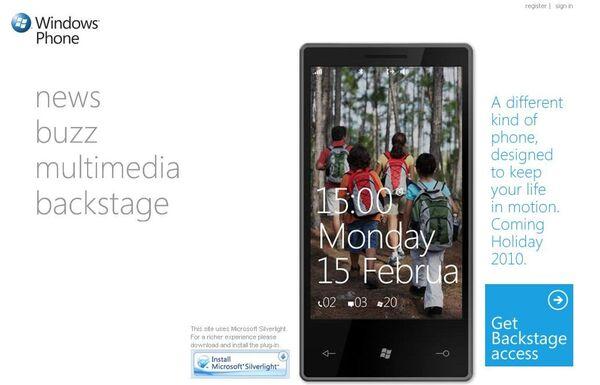 Скриншот официального сайта Windows Phone 7
