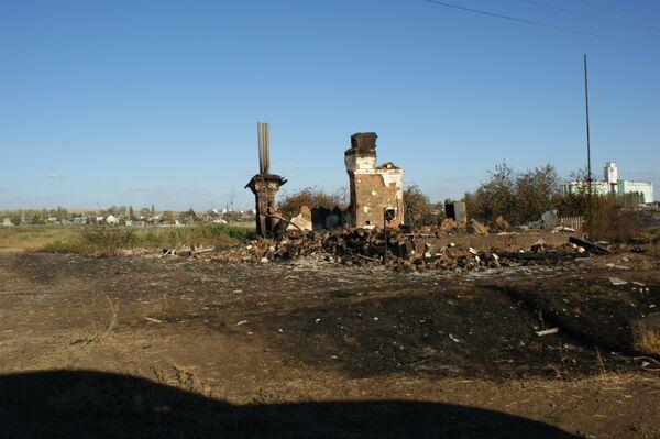 Последствия пожара на станции Лапшинская