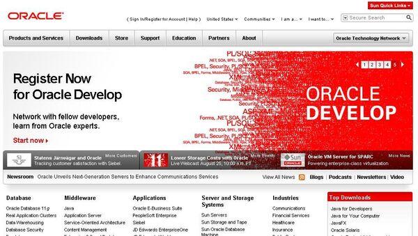 Скриншот сайта компании Oracle, архивное фото