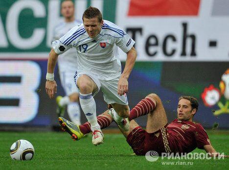 Игровой момент матча Россия – Словакия