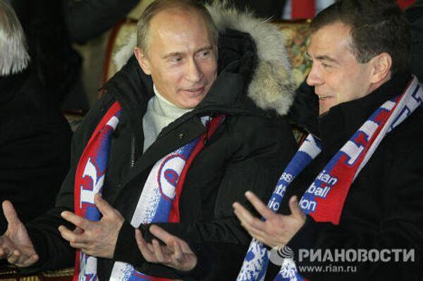 Председатель правительства РФ Владимир Путин и президент РФ Дмитрий Медведев