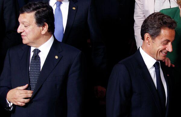 Президент Франции Николя Саркози и председатель Еврокомиссии Жозе Мануэль Баррозу на саммите ЕС в Брюсселе