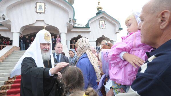 Патриарх Кирилл во время поездки на Дальний Восток