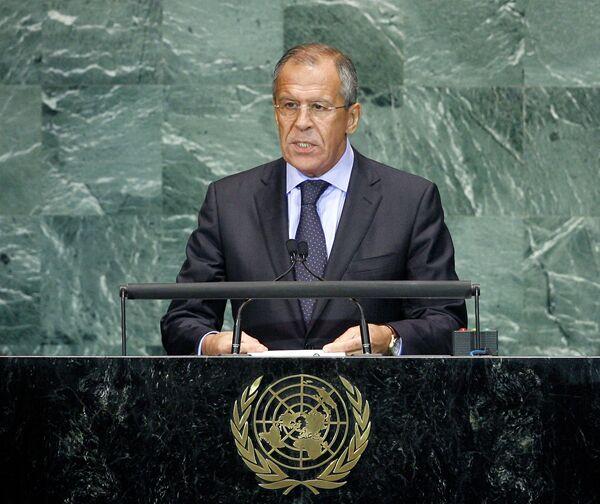 Глава МИД РФ Сергей Лавров принимает участие в 65-й сессии Генеральной асамблеи ООН