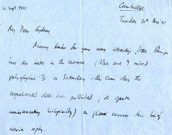 Письмо от Френсиса Крика Сиднею Бреннеру, 1955 год