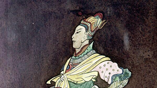 Репродукция рисунка Хан Батый на китайской вазе