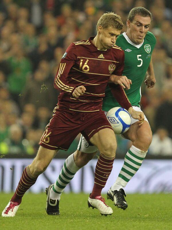 Игровой моент матча Ирландия - Россия