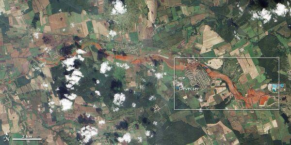 Ядовитое пятно красного шлама в Венгрии