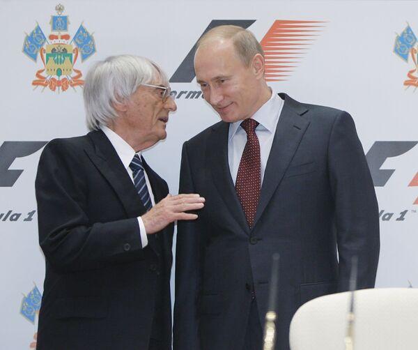 Бернард Экклстоун и Владимир Путин (слева направо). Архив