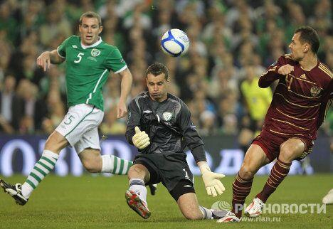 Игровой момент матча Ирландия - Россия
