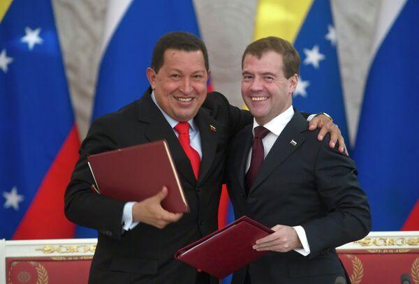 Президент РФ Дмитрий Медведев и президент Венесуэлы Уго Чавес подписали документы по итогам переговоров