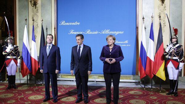 Трехсторонняя встреча президентов России и Франции и федерального канцлера Германии во французском Довиле