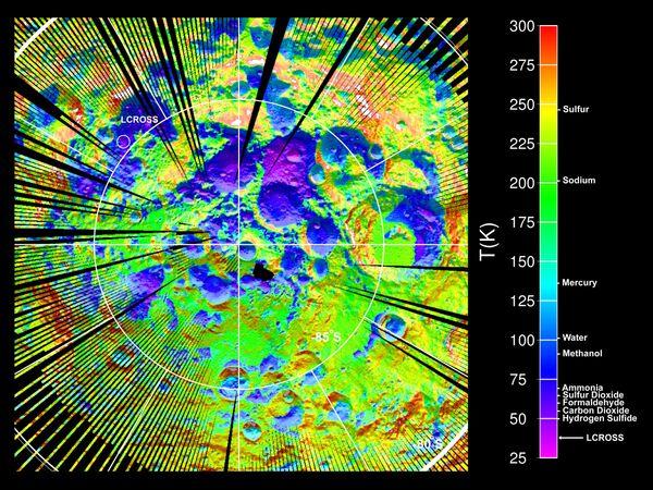 Температурная карта южного полюса Луны