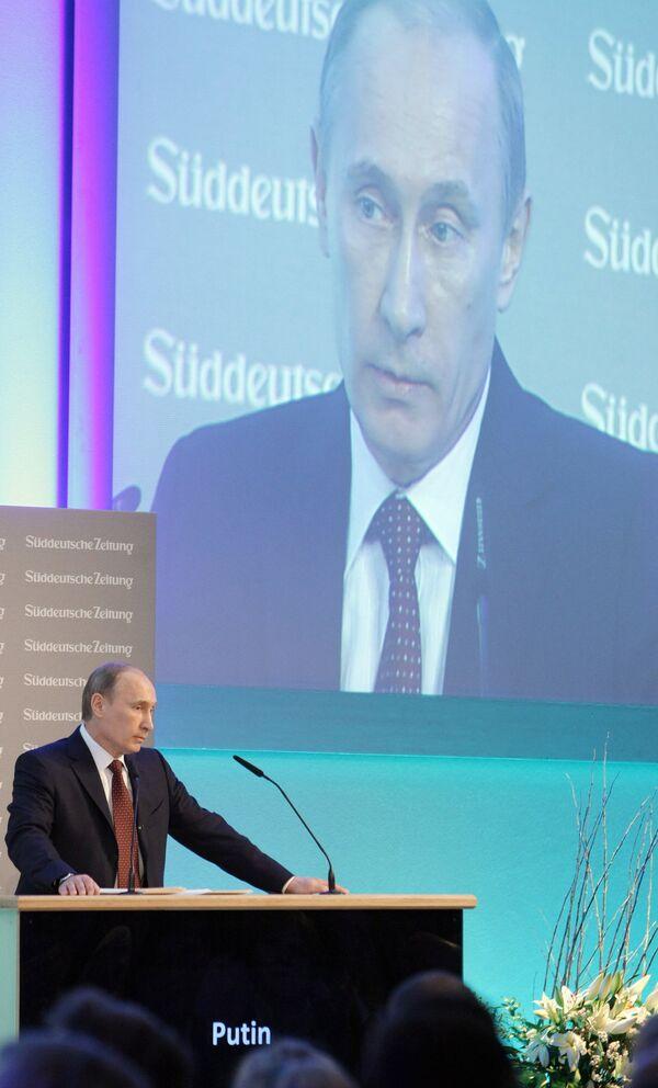 Премьер-министр РФ Владимир Путин на 4-м экономическом форуме газеты Зюддойче Цайтунг