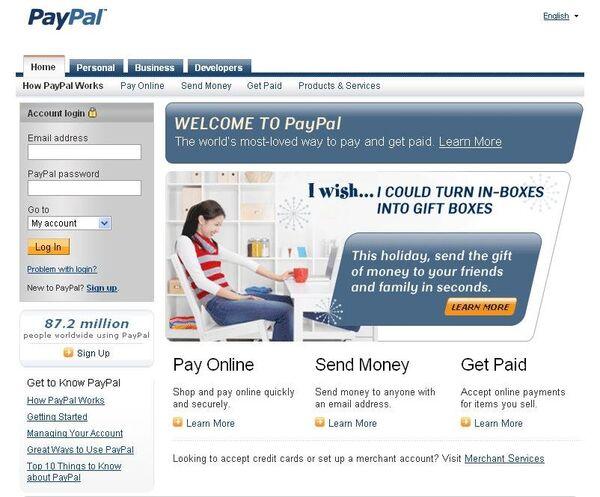 Скриншот сайта PayPal.com