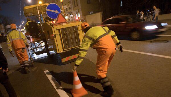 Обновление дорожной разметки в Москве. Архивное фото