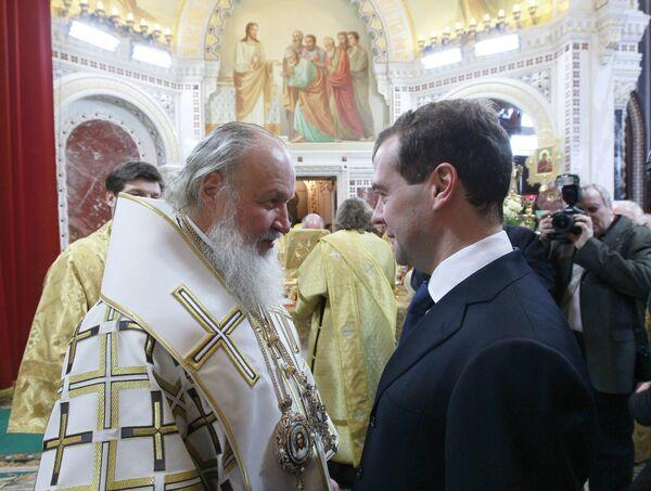 Дмитрий Медведев на Рождественском богослужении в Москве