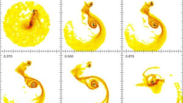 Результаты математического моделирования изменений распределения атомарного водорода в галактике Водоворот (М51) за 875 миллионов лет