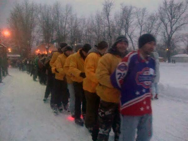 Паровозик на льду в Парке Горького в Москве