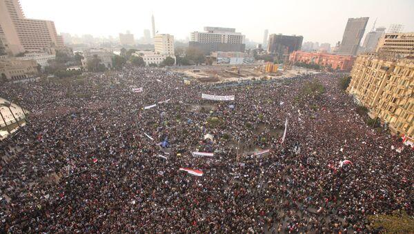 Акция протеста в Каире с требованием отставки президента Египта Хосни Мубарака