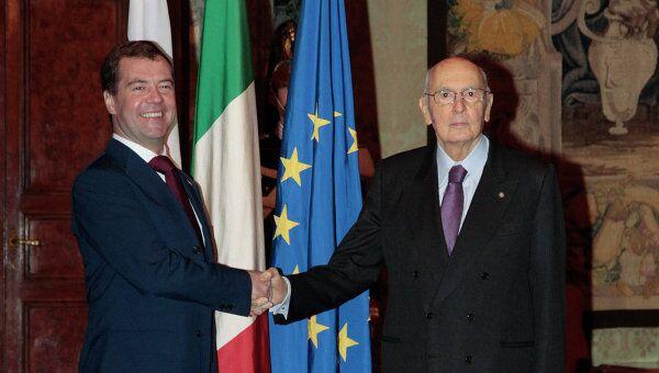 Президент РФ Д.Медведев встретился с президентом Италии Джорджо Наполитано