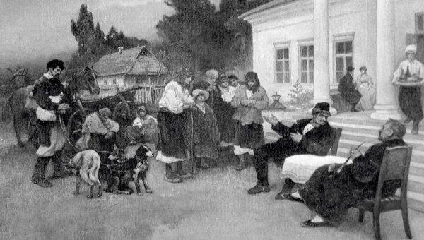 Репродукция картины художника И.С. Ижакевича Крепостных крестьян меняют на собак