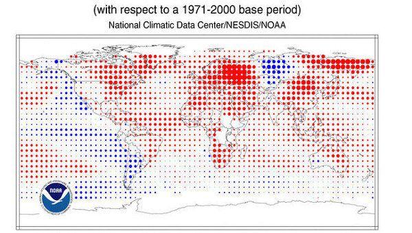 Температурные аномалии на Земле в июле 2010 года