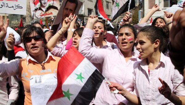 Демонстрация в поддержку режима президента Башара Асада в Дамаске