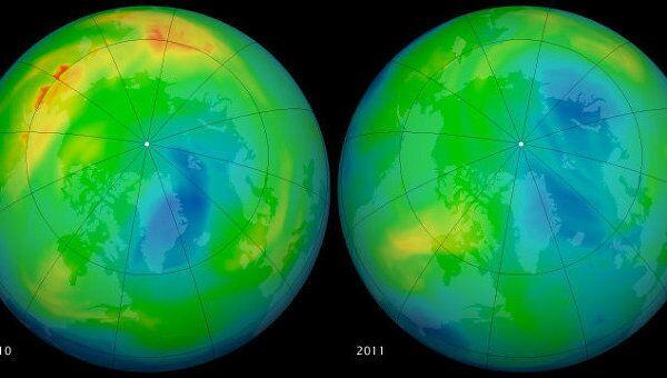 Карта толщины озонового слоя по данным Aura в 2010 и 2011 году