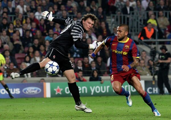 Игровой момент матча Барселона - Шахтер
