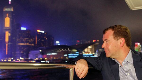 Посещение президентом РФ Дмитрием Медведевым здания биржи