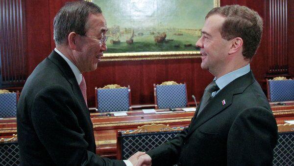 Президент РФ Д.Медведев встретился с генсеком ООН Пан Ги Мунуом