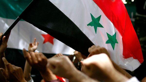Акция протеста против правительства Сирии