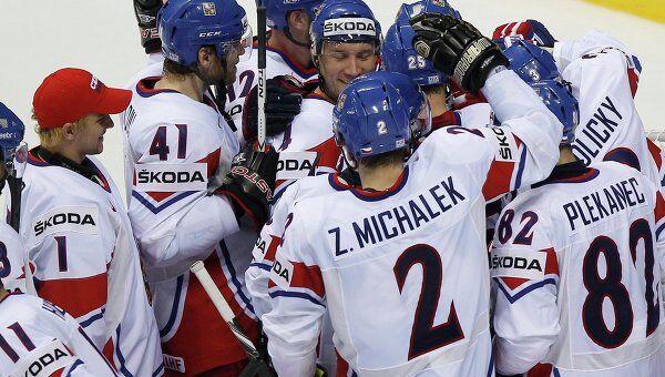 Хоккеисты сборной Чехии после победы над командой Германии