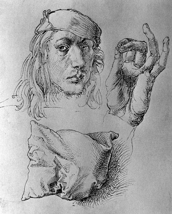 Рисунок Дюрера Автопортрет, рука и подушка