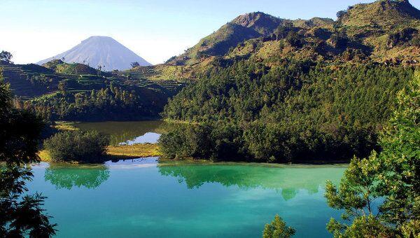 Горное плато Диенг на Центральной Яве в Индонезии