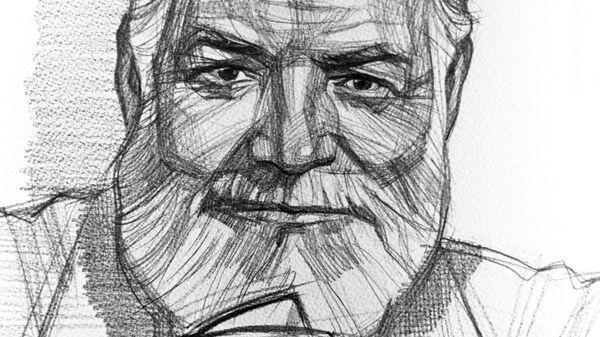 Репродукция рисунка Эрнест Хемингуэй