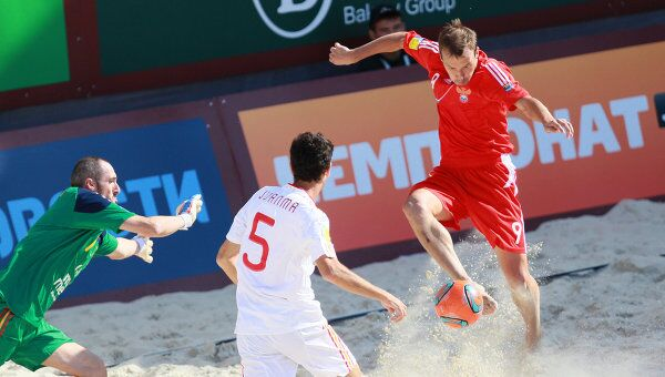 Игровой момент матча Россия - Испания