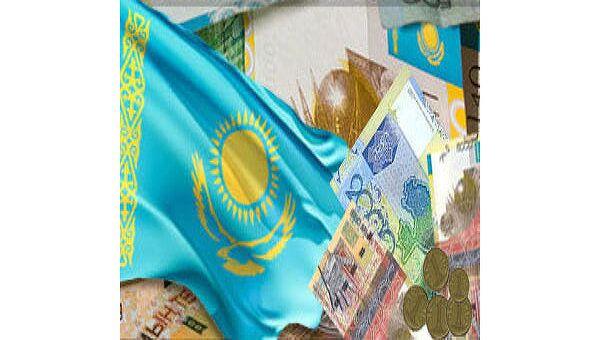 Флаг Казахстана и казахские деньги