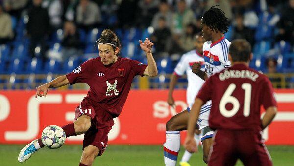 Игровой момент матча Рубин - Лион