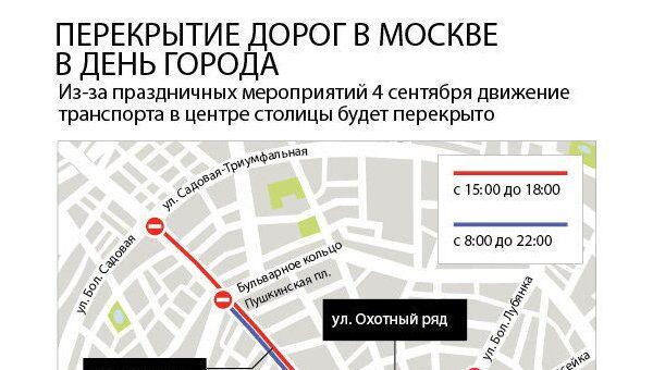 Перекрытие дорог на День города