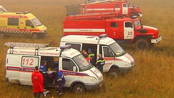 Спасатели работают на месте крушения истребителя МиГ-31 в Пермском крае
