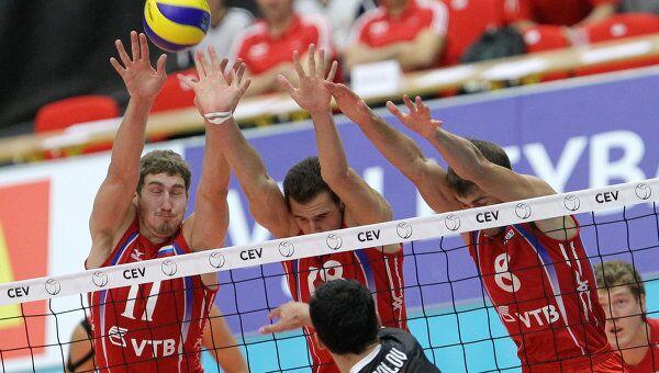 Игровой момент матча Россия - Болгария