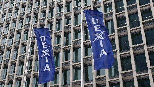 Флаги бельгийско-французской банковской группы Dexia. Архив